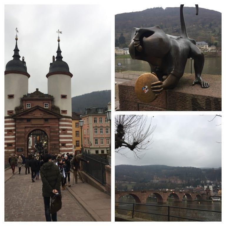 Alte Brucke Heidelberg - ponte que corta o rio Neckar e Brückenaffe - estátua de um macaco no início da ponte
