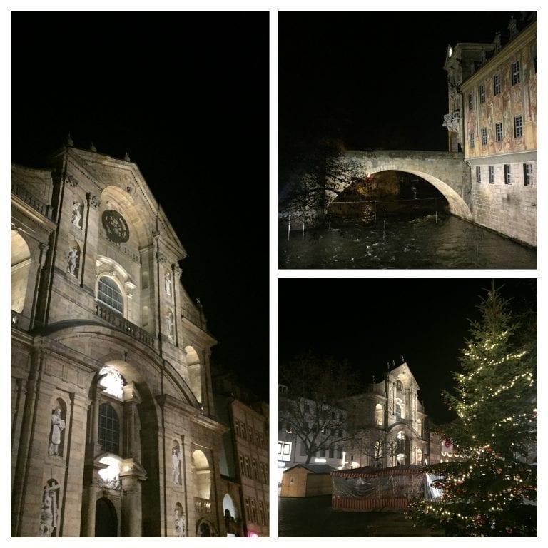 Igreja, Prefeitura e ruas do centro antigo à noite