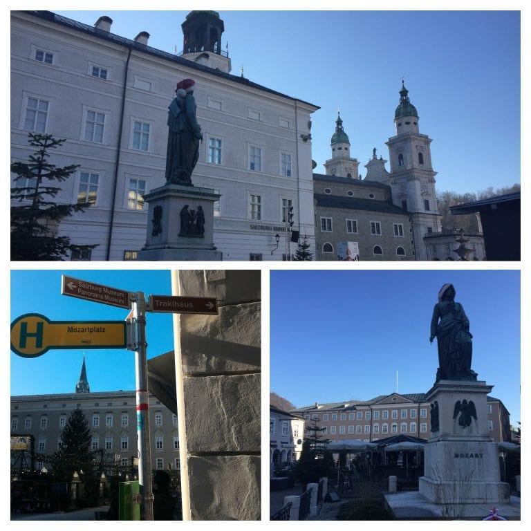 O que fazer em Salzburg: MozartPlatz e a estátua de Mozart