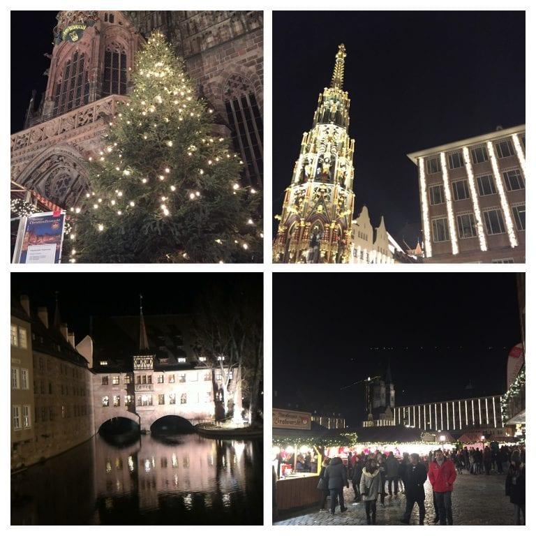 1. FrauenKirche a noite 2. Schöner Brunnen 3. Spital Apotheke zum 4. Heiligen Geist a noite Mercado de Natal de Nuremberg