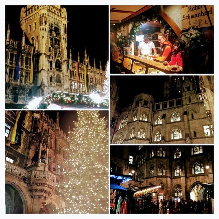 Marienplatz, Neues Rathaus (Nova Prefeitura), Altes Rathaus (Antiga Prefeitura), Peterskirche (Igreja de São Pedro) e barracas do Mercado de Natal