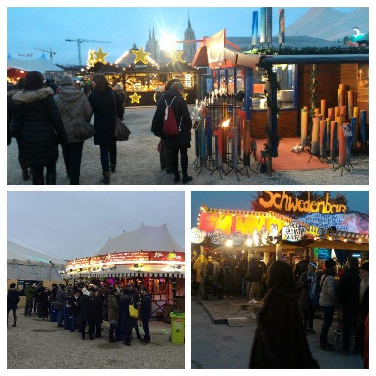 Tollwood Winterfestival: barracas com comidas e bebidas típicas, peças de vestuário, acessórios, itens de decoração