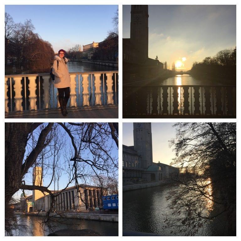 Rio Isar e o por do sol sob um vento frio cortante
