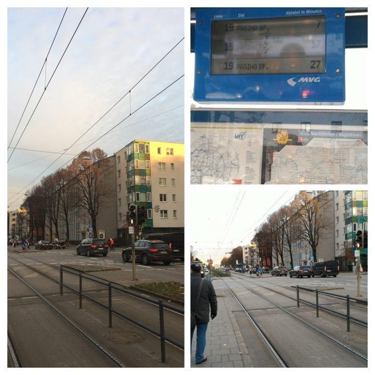 Próximo ao hotel, esperando o tram 19 novamente para ir em direção ao centro de Munique