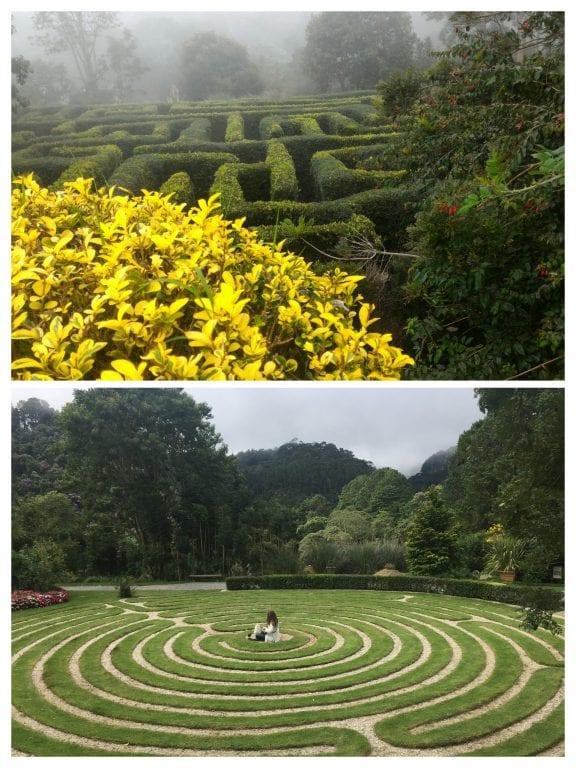 Labirinto clássico e labirinto de grama