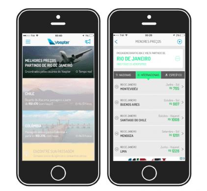 No aplicativo do Voopter, é possível ver os melhores preços a partir da cidade em que você mora (no exemplo, Rio de Janeiro)