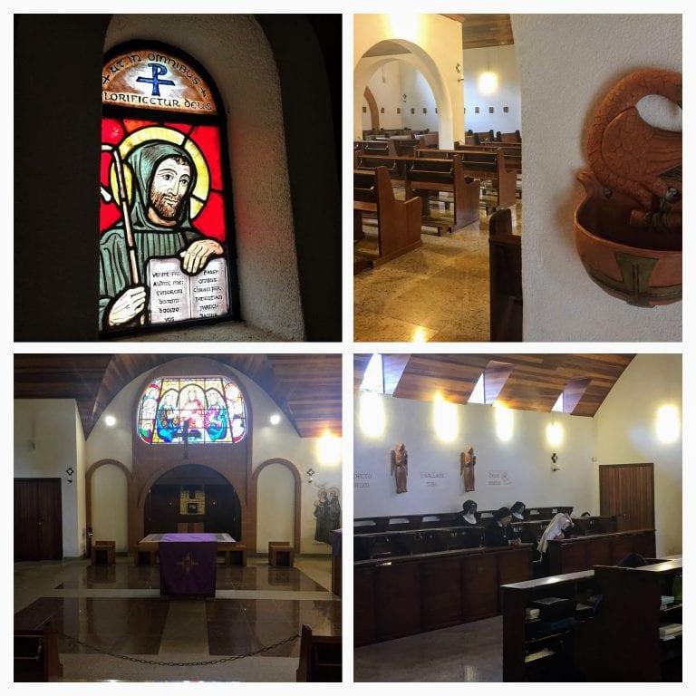 Detalhes do interior da Igreja e do momento de oração das monjas beneditinas