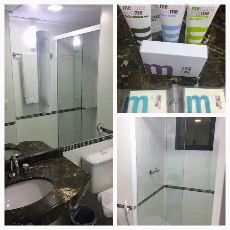 Kit de banho e detalhes do banheiro do hotel