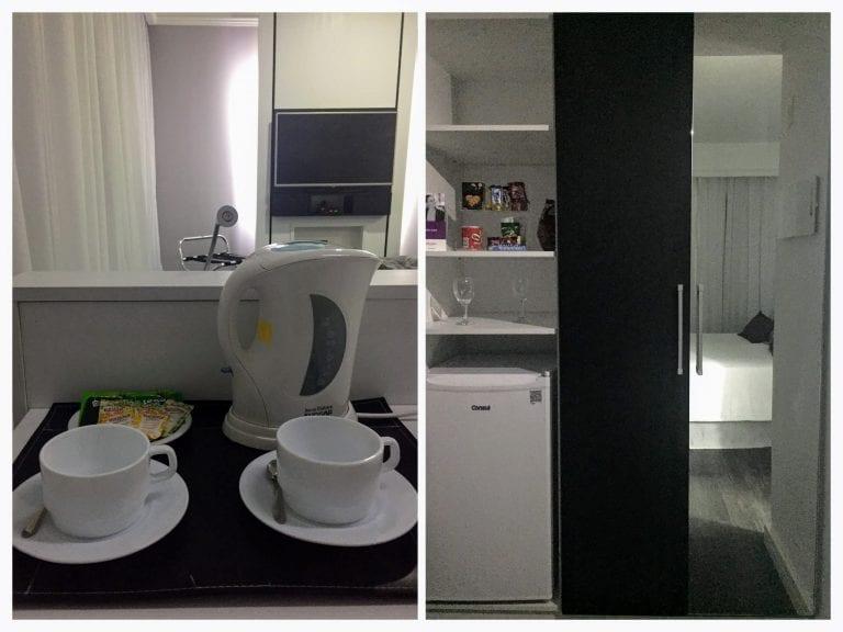 Chaleira elétrica e frigobar do Hotel Mercure Privilege
