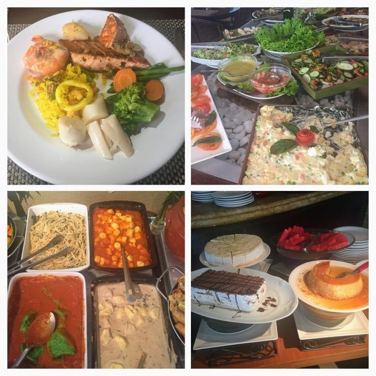 Buffet de frutos do mar no Vila Conte, restaurante do Hotel Mercure Privilege