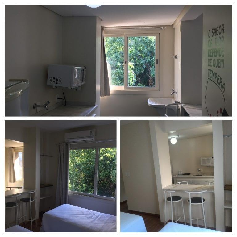 Cozinha e um dos quartos da acomodação Residence Quádruplo do Eko Residence Hotel