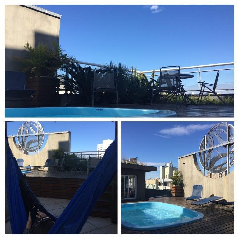 Terraço do Eko Residence Hotel, onde fica também o deck da piscina