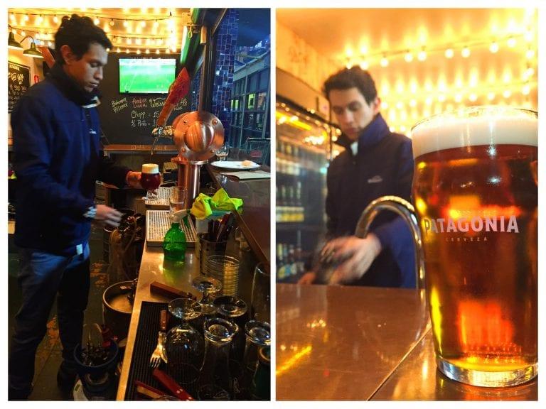 Patagonia Mercado del Puerto: Luis, nosso amigo venezuelano tirando a cerveja on tap