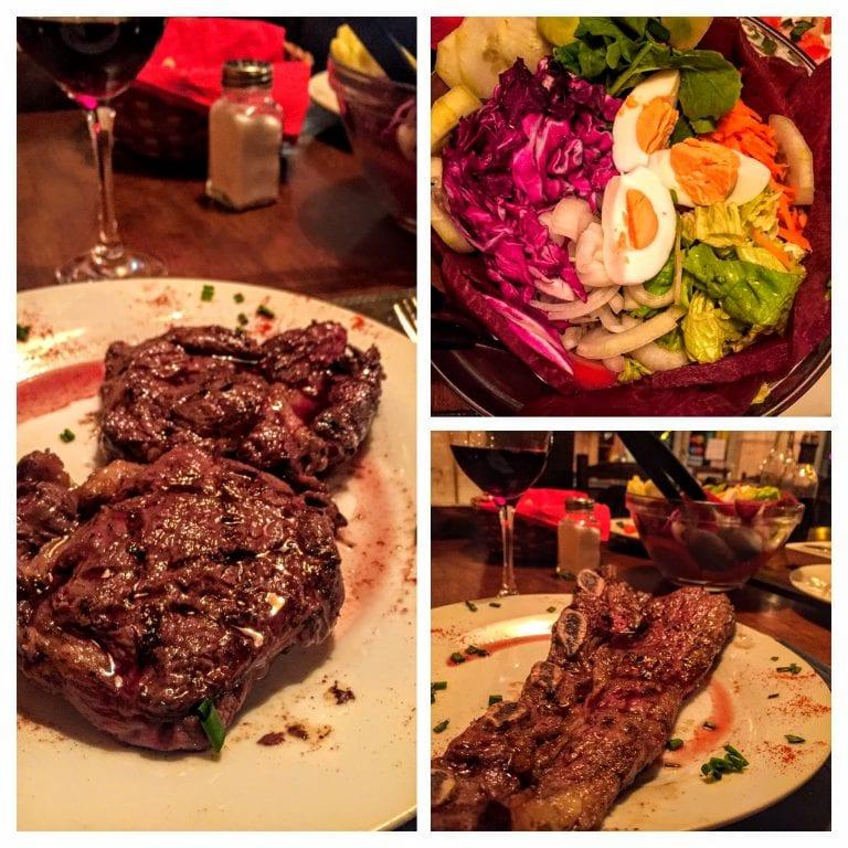 Punta Sur Parrilla: prato principal e salada de acompanhamento