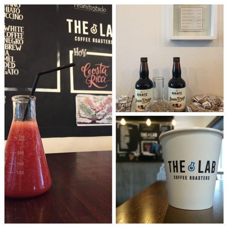 The Lab Coffee Roasters: suco no frasco de laboratório, cerveja com grãos de café do estabelecimento e o copo do takeaway