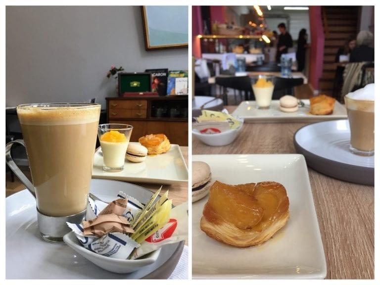 Cappuccino, tarte tatin, macarron e mousse cítrico de laranja no Café Gourmand