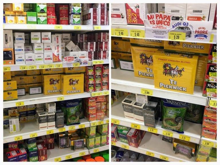 Prateleiras inteiras dedicadas aos chás nos supermercados no Uruguai