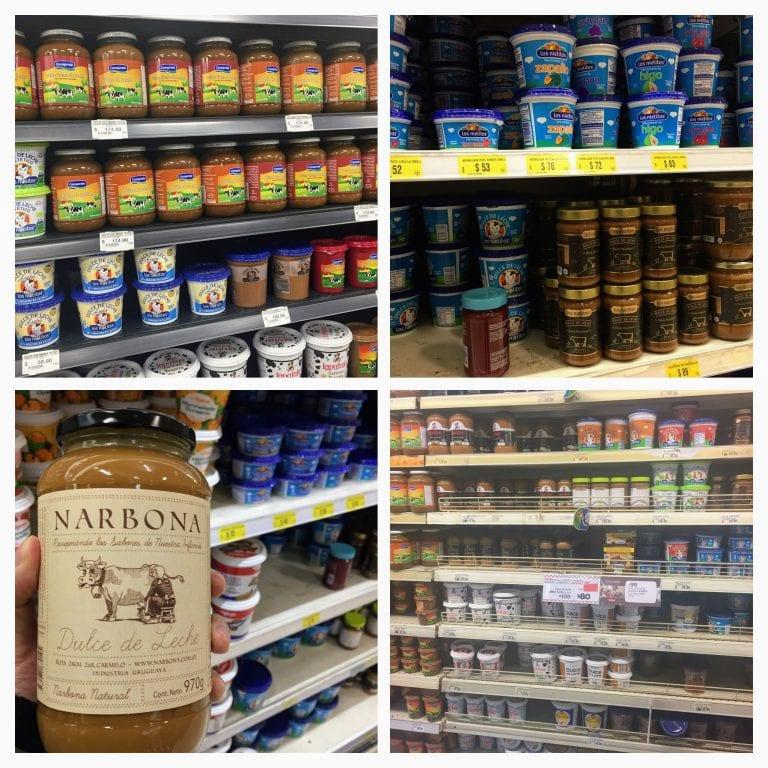 Dulce de Leche! Tem pra todos os gostos e bolsos, dezenas de marcas e tamanhos em todos os supermercados no Uruguai.