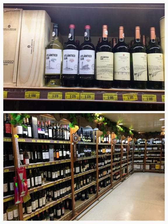 Vinhos uruguaios nos supermercados no Uruguai. Não é tão barato quanto comprar vinhos no Chile ou na Argentina, mas são mais difíceis de encontrar no Brasil.