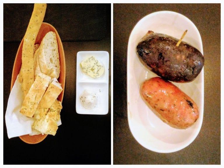 Uruguay Natural Parrilla Gourmet: cesta de pães e morcilha doce + linguiça de entrada