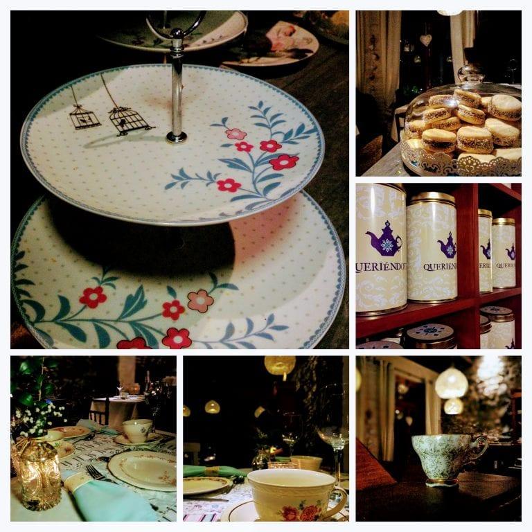 Queriéndote Casa de Té y Bistró: detalhes da decoração e da louça