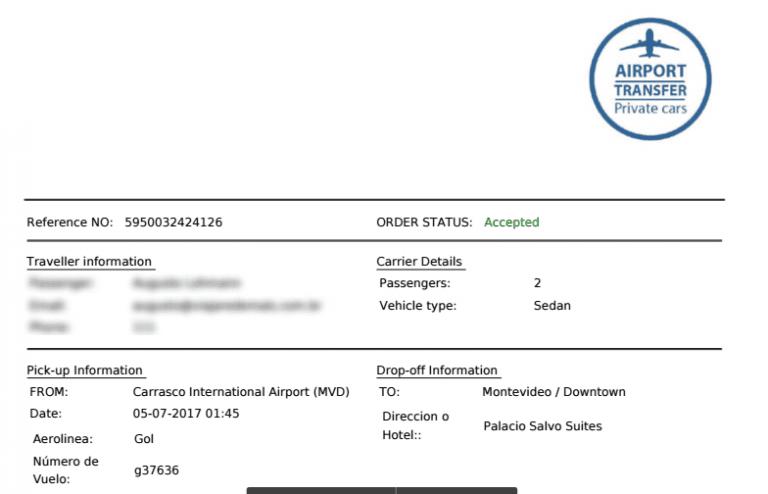 Voucher de confirmação do serviço da Airport Transfer Uruguay