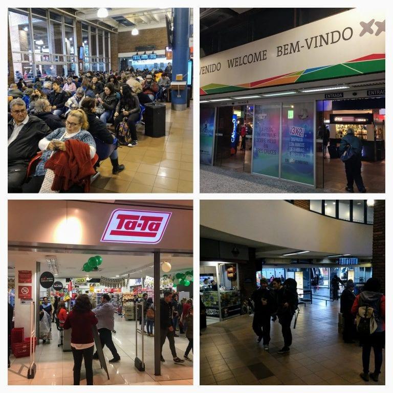 Terminal rodoviário de Três Cruces, em Montevidéu. Tem até supermercado Ta-ta.