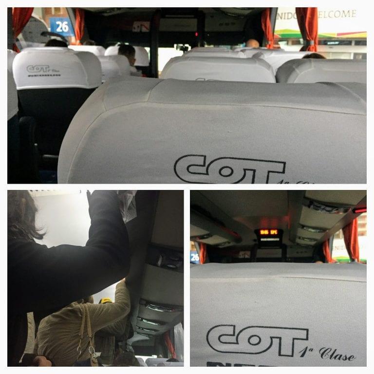 Dentro do ônibus da COT: detalhe dos passageiros em pé durante parte do trajeto