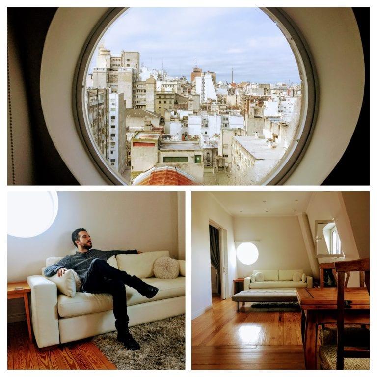 Salvo Suites: sala de estar com sofá confortável, televisão e bem iluminada
