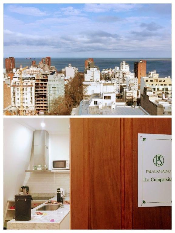 Salvo Suites: vista do Rio da Prata e o detalhe da porta com o nome do apartamento