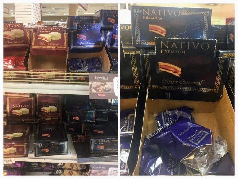 Alfajor uruguaio Nativo nas prateleiras dos supermercados