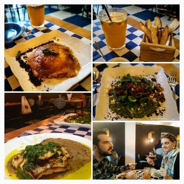 Lucca Bistro y Cafe: pães + provoleta de entrada; pratos principais e água saborizada