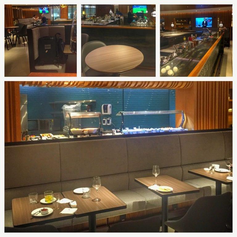 Área de alimentação da Plaza Premium Lounge Rio Galeão