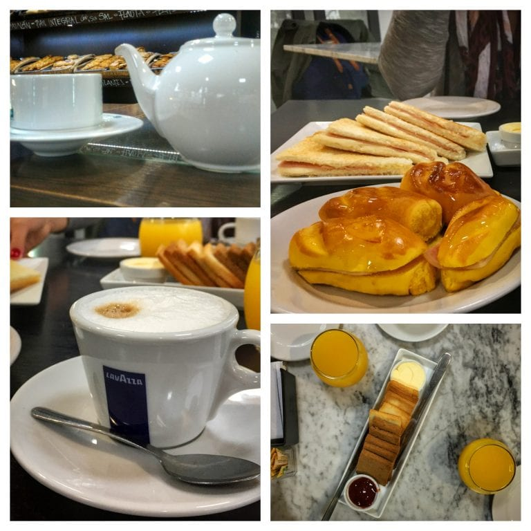 Los Fontanes: suco, café com leite, chá, torradas, sanduíches e misto quente