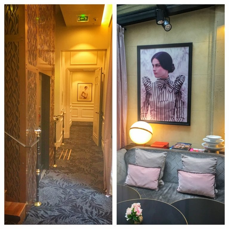 Le Narcisse Blanc: detalhes da decoração com retratos e outros objetos