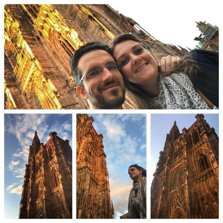 Mosaico com 4 fotos da catedral com céu azul atrás. Duas fotos tem pessoas: mulher olhando para a esquerda em frente a catedral e o casal fazendo selfie em frente a catedral iluminada pelo sol do entardecer