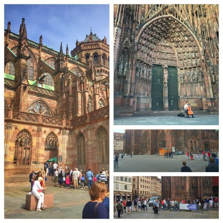 Mosaico com 4 fotos do entorno da catedral com pessoas se movimentando e um músico tocando violoncelo.
