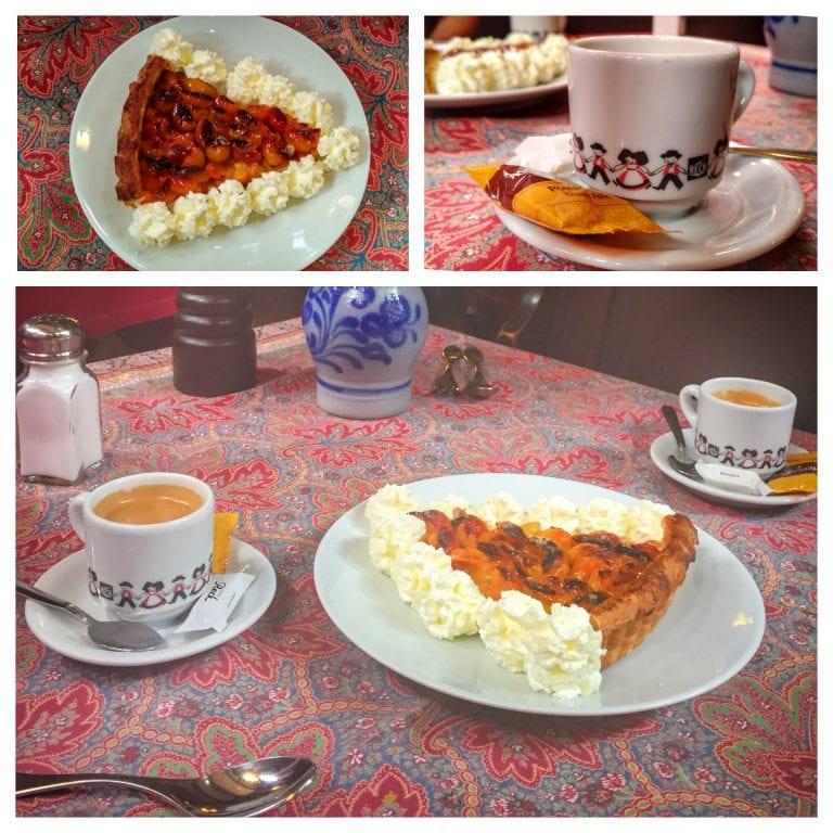 Chez Yvonne Strasbourg: torta de frutas da estação acompanhado de café expresso em uma xícara super fofa
