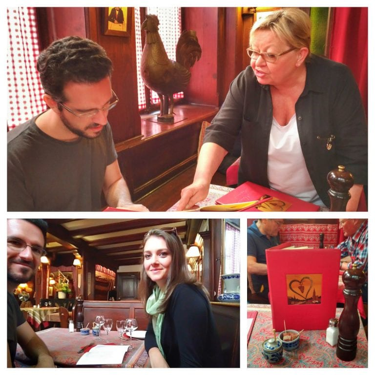 Chez Yvonne Strasbourg: recomendações especiais da senhora que nos atendeu; detalhes da mesa e do restaurante