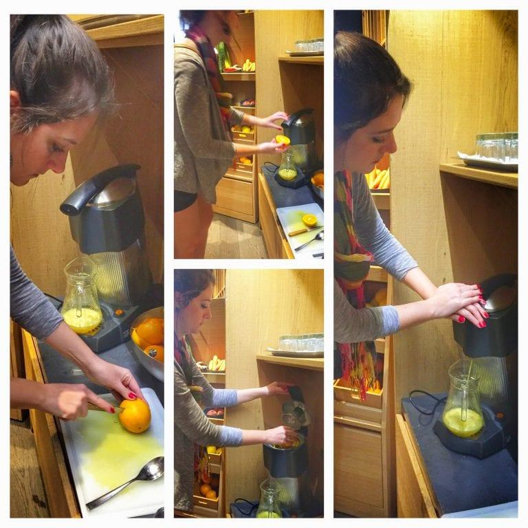 Hotel Hannong: você mesmo prepara seu suco de laranja