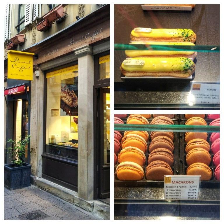 Maison Caffet Strasbourg Chocolatier Patisserie: vitrine com macarons e èclairs
