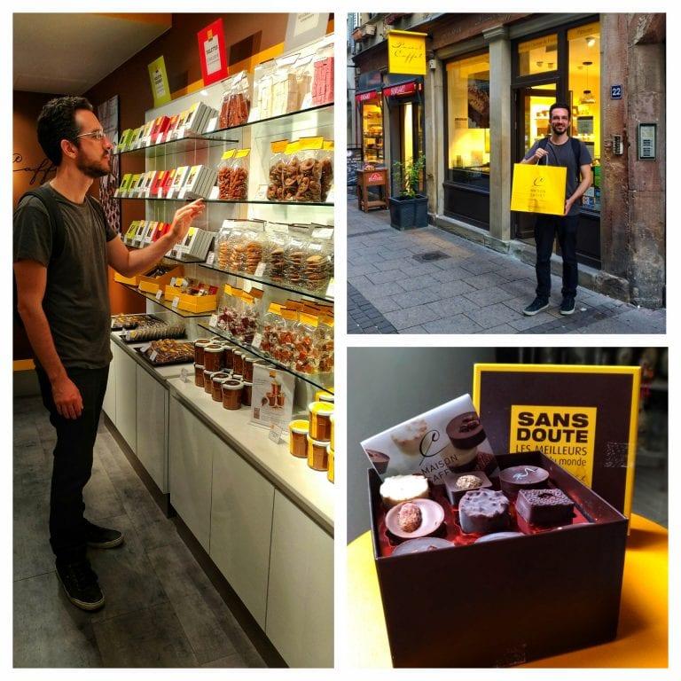 Maison Caffet Strasbourg Chocolatier Patisserie: muitas delícias nas prateleiras que fica difícil não encher uma sacola para trazer pra casa