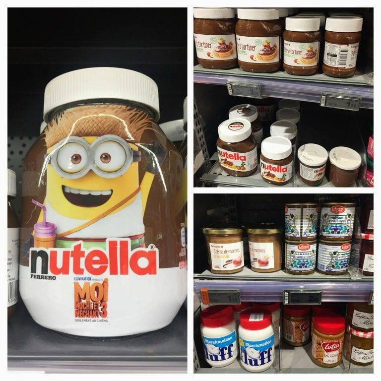 Nutella (original e similares) nos supermercados em Paris