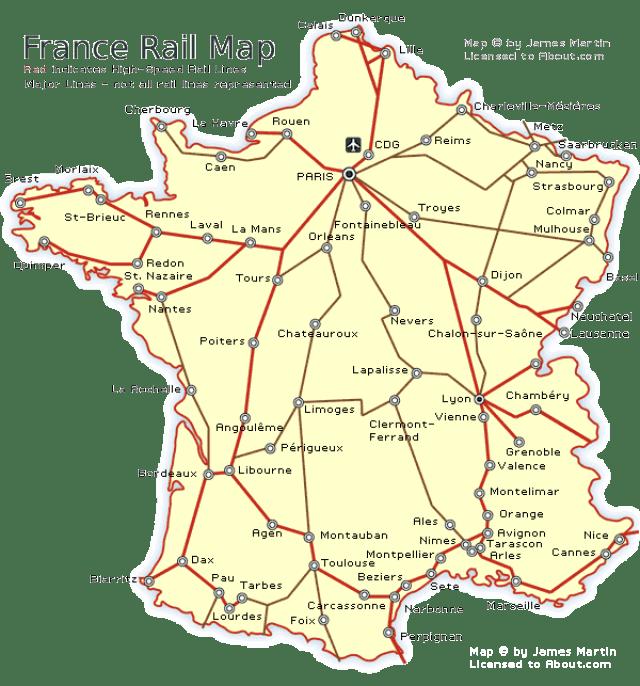 Mapa dos trilhos de trem na França