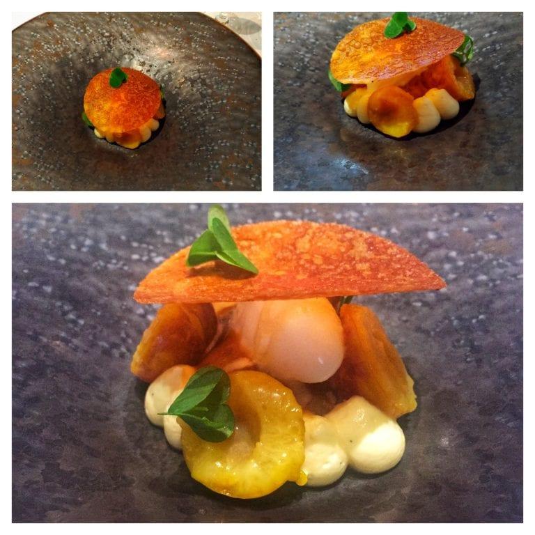 Restaurant William Frachot: pré-sobremesa - usando Mirabelle, uma das frutinhas típicas da região que só tem no verão