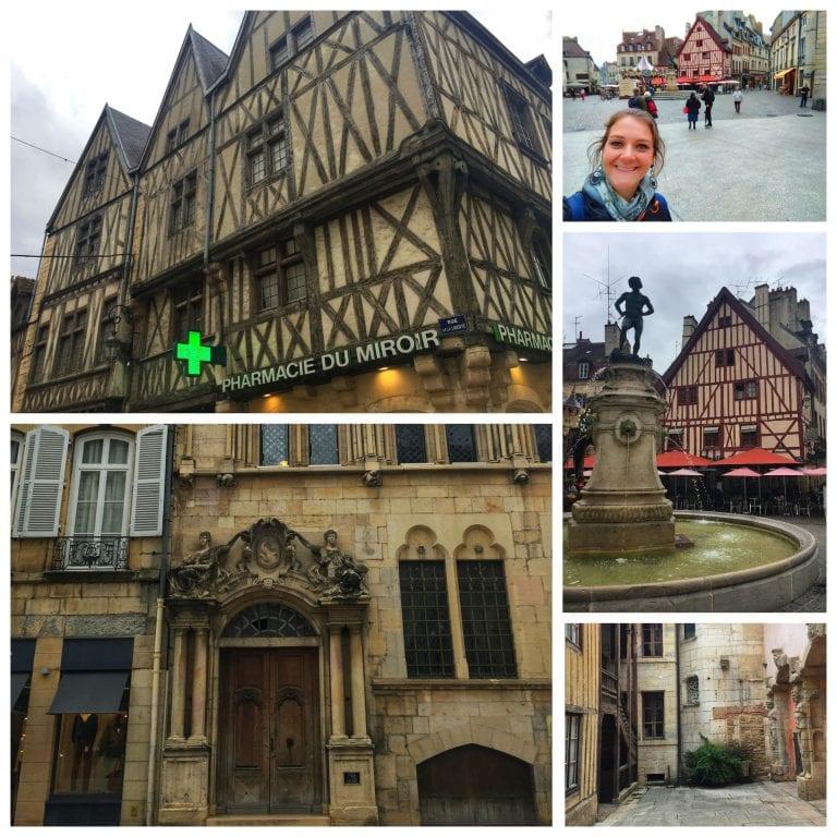 Dijon: Rue des Forges, farmácia bem antiga e com estilo enxaimel bem diferente do restante da cidade e a Maison Maillard, um Hôtel Particulier construído no século XVI (uma mansão que sempre pertenceu a uma mesma família)