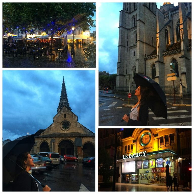 Dijon: locais iluminados à noite e o charmoso cinema Le Darcy todo iluminado