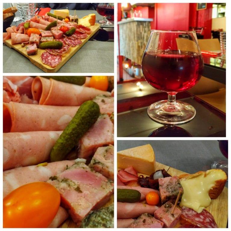 La Fine Heure: aperitivo da casa e a tábua de frios (planche mini Moit' Moit')