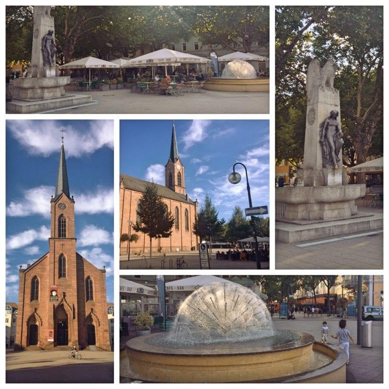 O que fazer em Kehl - MarktPlatz 1-Igreja; 2-Estátua e 3 - Chafariz