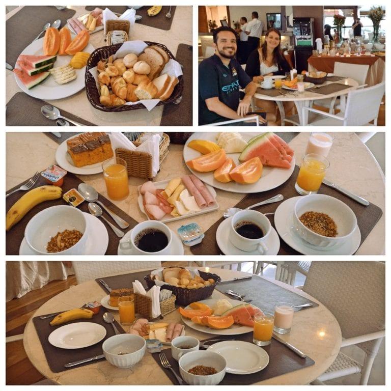 Hotel Ferradura Resort - café da manhã com pães, frios e frutas cortadas servidas à mesa